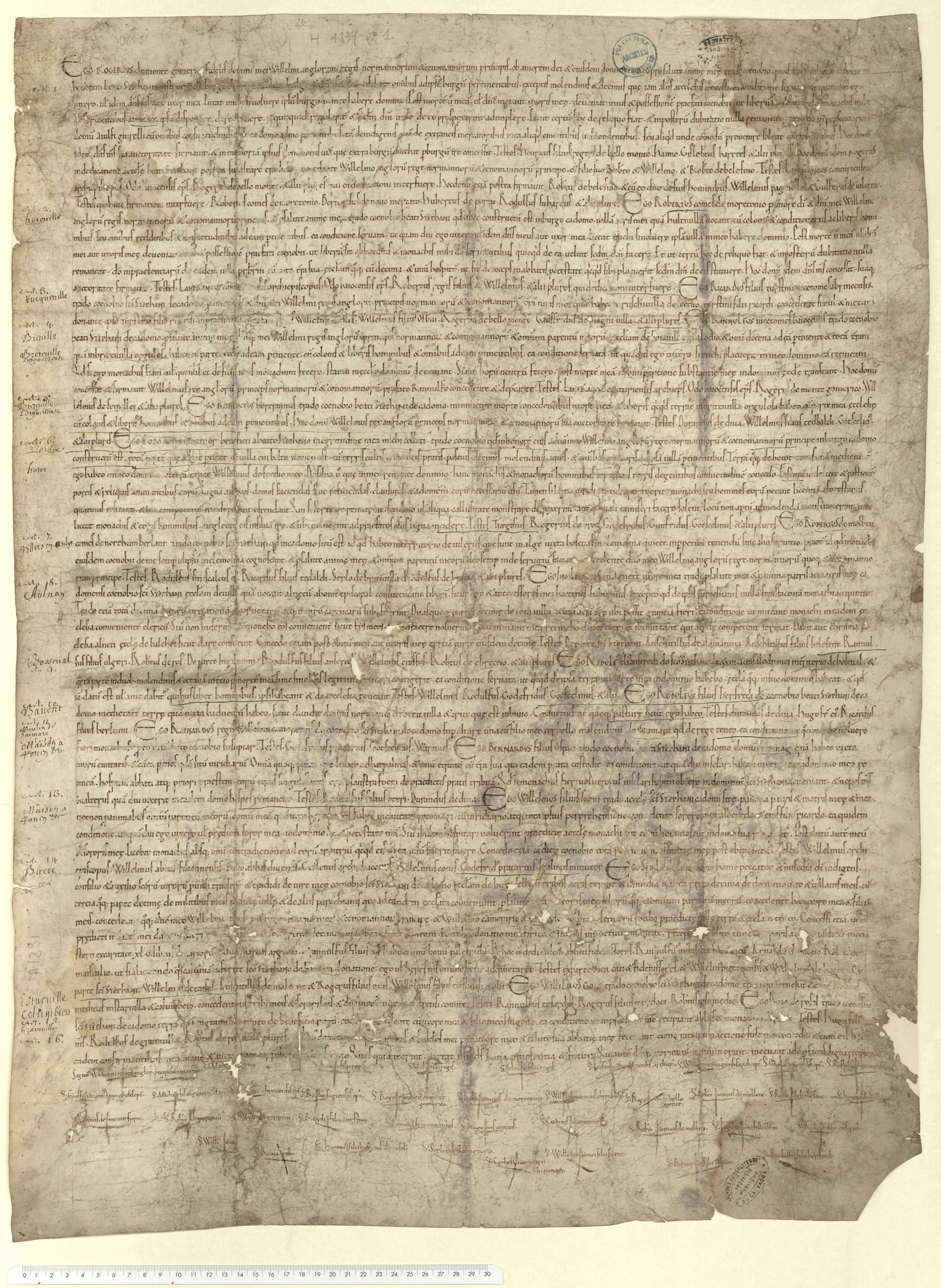 Guillaume et la reine Mathilde souscrivent une pancarte rappelant seize donations, dont celle de Roger de Montgommery sur le bourg de Trun.