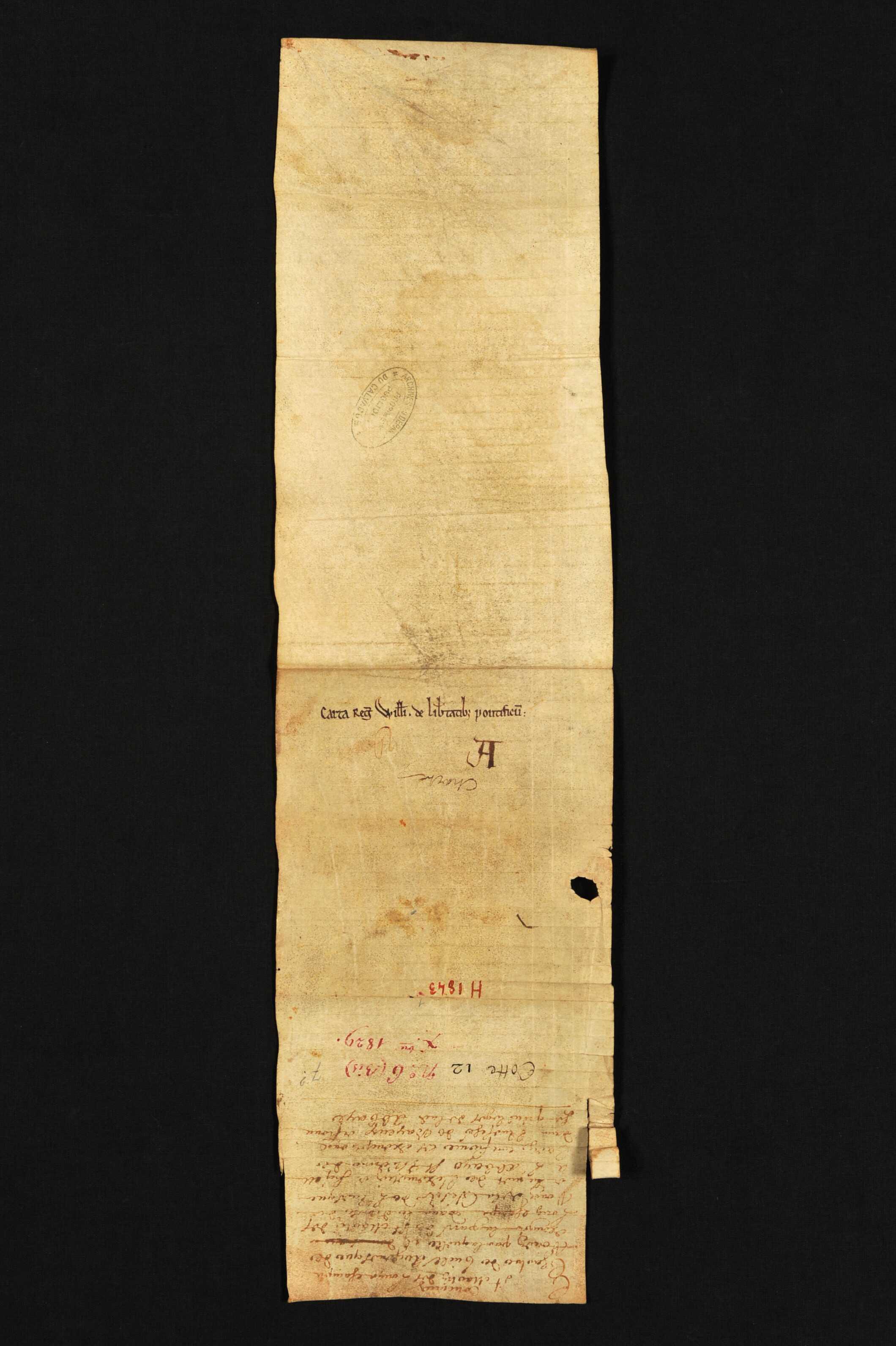 Pancarte souscrite par Guillaume par laquelle les évêques de Rouen, Coutances et Bayeux indiquent les exemptions de l'abbaye vis-à-vis de leurs évêchés