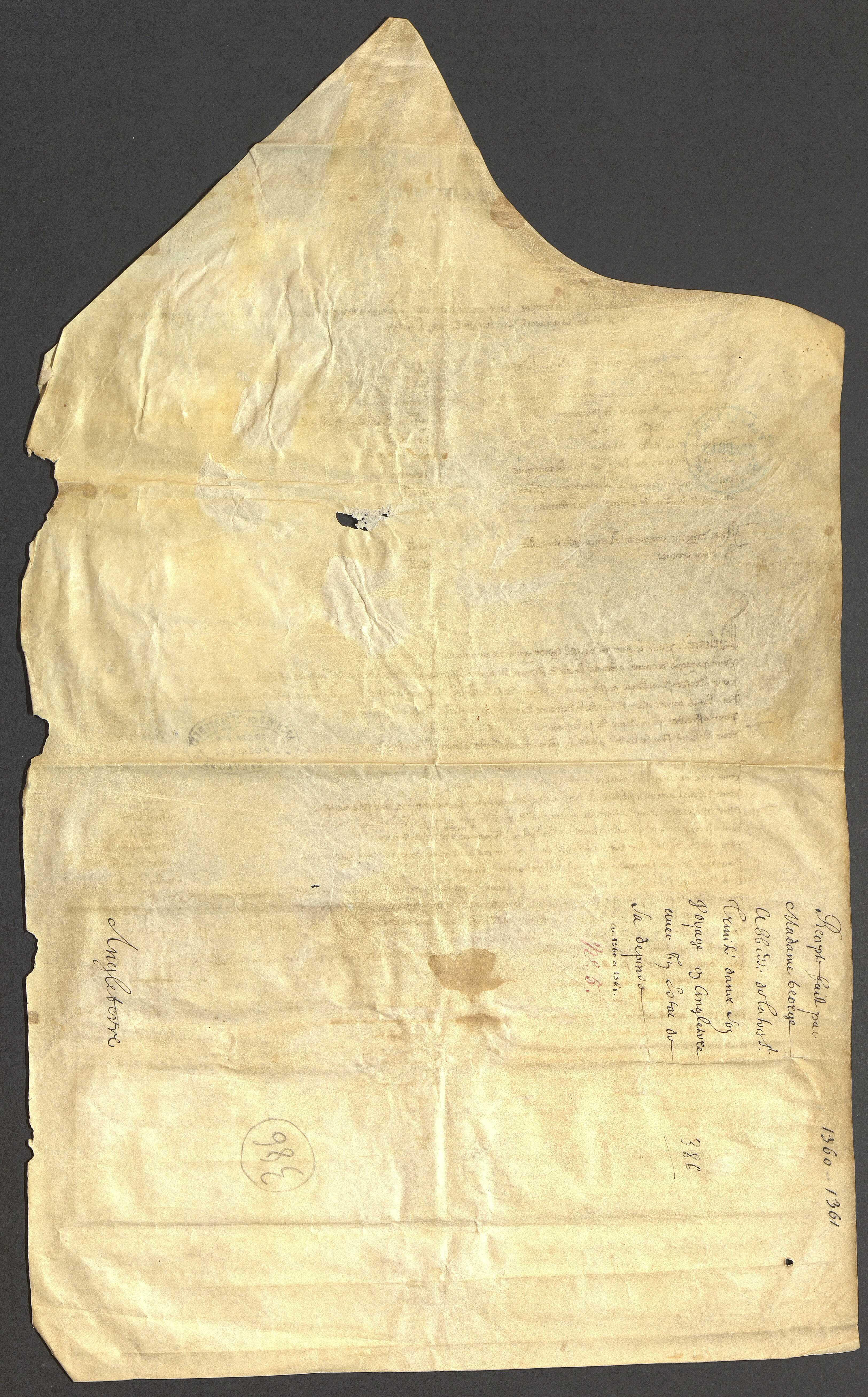 État des recettes et dépenses de l'abbesse pendant son voyage en Angleterre