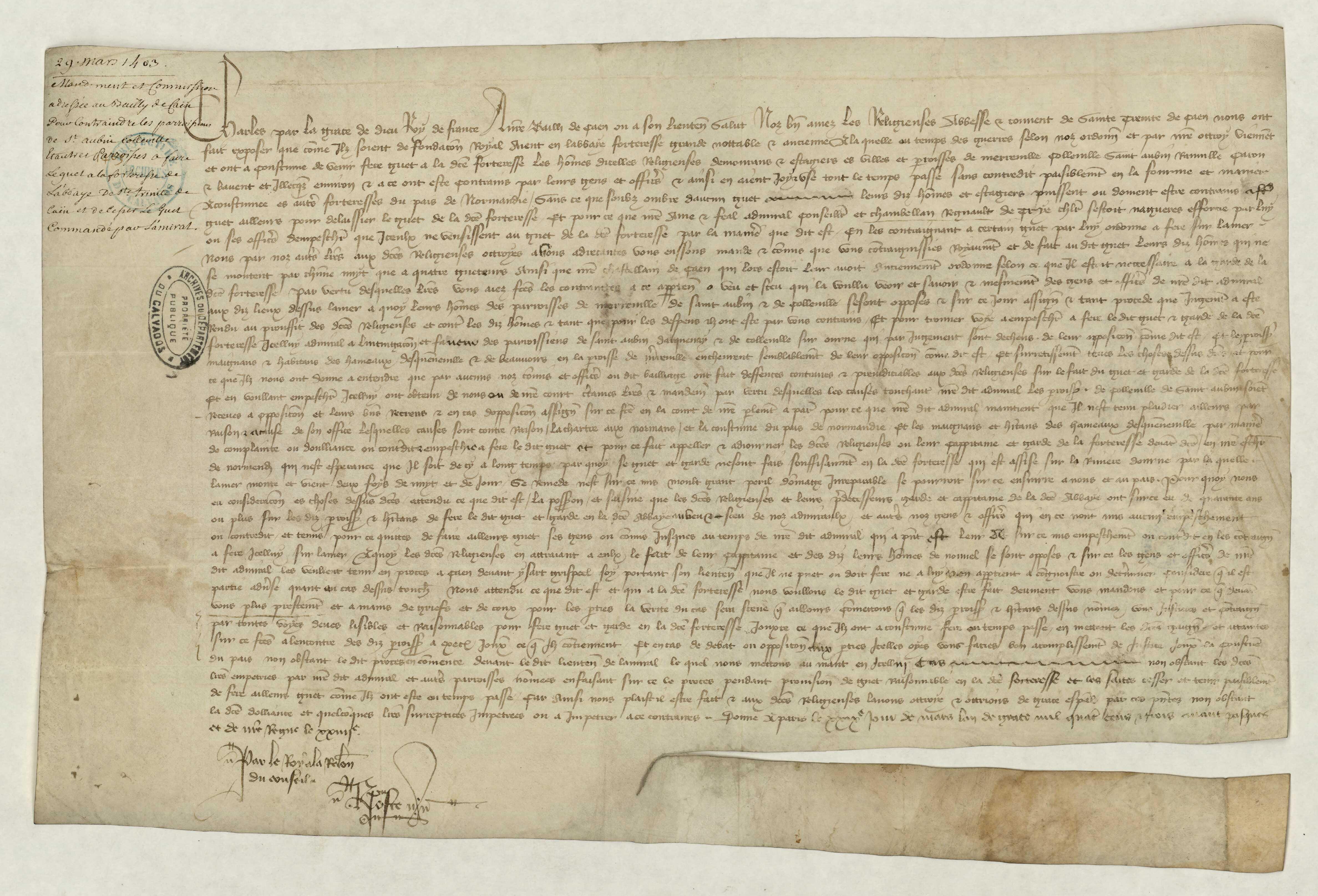 Charles le Bon mande le bailli de contraindre les paroissiens de Saint-Aubin, Colleville et alentours de participer au guet de la forteresse de l'abbaye