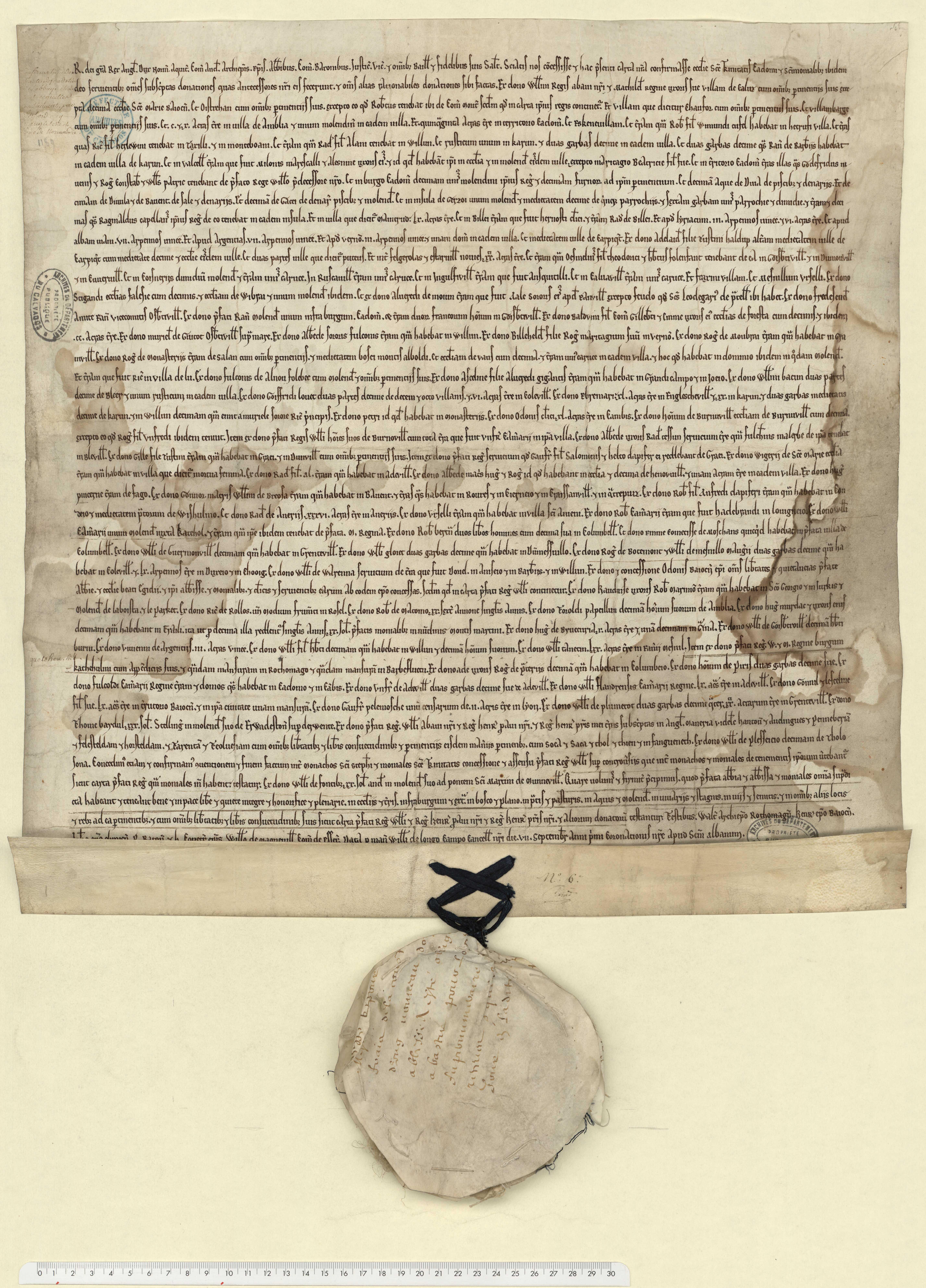 Richard Coeur-de-Lion confirme les biens de l'abbaye