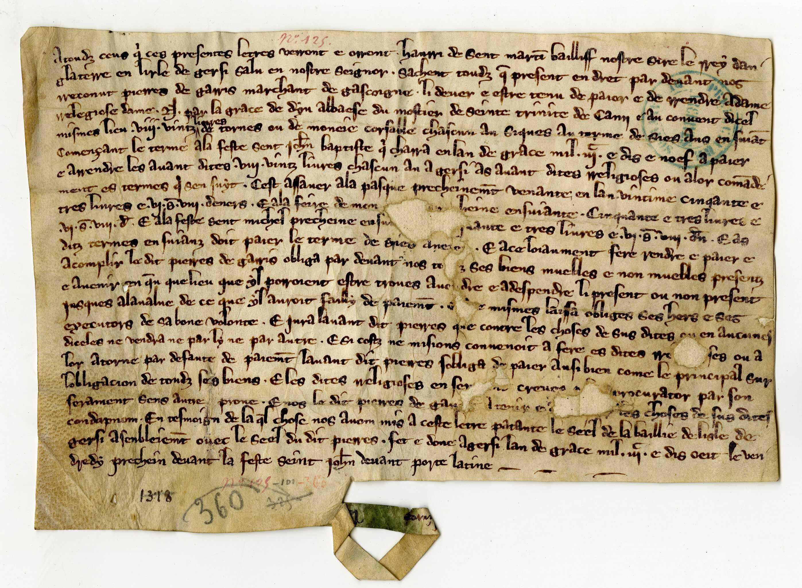 Le bailli du roi d'Angleterre à Jersey déclare que Pierre de Garris a reconnu devoir à l'abbaye 80 livres tournois