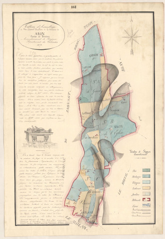 Saon. Carte, notice, dessin